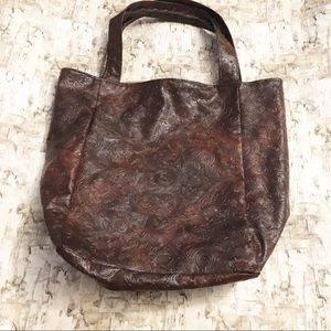 Embossed Vegan Leather Carry All Tote Brown